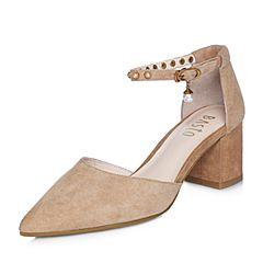 BASTO/百思图2018春季专柜同款棕色羊绒皮珍珠尖头通勤粗跟女凉鞋RLH04AK8