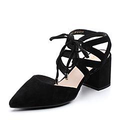 BASTO/百思图2018春季专柜同款黑色羊绒皮尖头简约休闲粗跟女凉鞋RLH03AK8