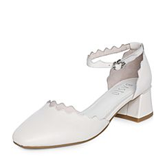 BASTO/百思图2018春季专柜同款米白色羊绒皮珍珠方头休闲粗跟女凉鞋TF903AK8