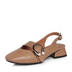 BASTO/百思图2018春季专柜同款棕色牛皮小V口珍珠粗跟女皮鞋RFN01AH8