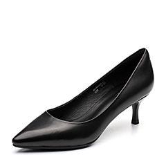 BASTO/百思图2018春季专柜同款黑色羊皮简约通勤尖头细高跟女单鞋A6881AQ8