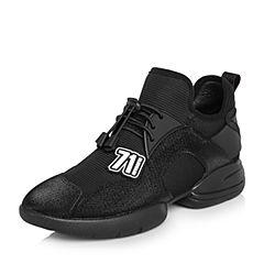 BASTO/百思图2018春季专柜同款黑色弹力布/TPU时尚运动风女休闲鞋A1816AM8