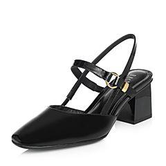 BASTO/百思图2018春季专柜同款黑色牛皮简约休闲粗跟女后空凉鞋ACA32AH8