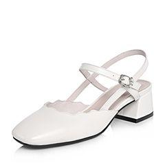 BASTO/百思图2018春季专柜同款米白色牛皮简约纯色方头粗跟女皮凉鞋AC870AH8