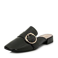 BASTO/百思图2018春季专柜同款黑色牛皮金属扣漆皮女凉拖鞋AA103AH8