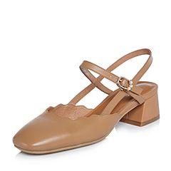 BASTO/百思图2018春季专柜同款棕色牛皮简约纯色方头粗跟女皮凉鞋AC870AH8