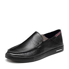 BASTO/百思图2018夏季专柜同款黑色摔纹牛皮革男休闲鞋BUM01BM8
