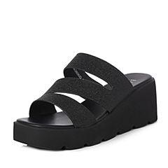 BASTO/百思图2018夏季专柜同款黑色人造革休闲清凉坡跟女凉鞋DB083BT8