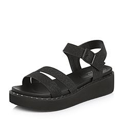 BASTO/百思图2018夏季专柜同款黑色人造革休闲简约坡跟女凉鞋DB325BL8