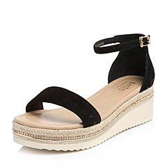 BASTO/百思图2018夏季专柜同款黑色羊绒皮一字带坡跟女凉鞋RMX19BL8