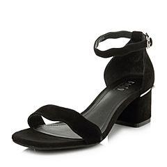 BASTO/百思图2018夏季专柜同款黑色羊皮简约一字带粗跟女凉鞋RNU03BL8