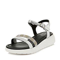 BASTO/百思图2018夏季专柜同款银色羊皮露趾坡跟休闲女凉鞋TY319BL8
