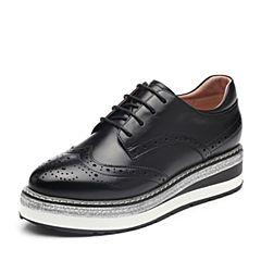 BASTO/百思图2018秋季专柜同款黑色软面牛皮革镂花系带坡跟女皮鞋YPI03CM8