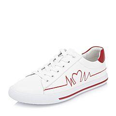 BASTO/百思图2018秋季专柜同款白/红牛皮革系带休闲小白鞋女单鞋YIP46CM8