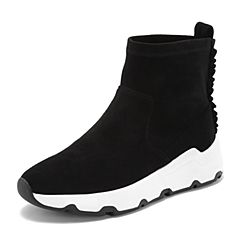 BASTO/百思图2018秋季专柜同款黑色植绒布/羊皮革简约纯色女休闲靴YLG15CD8
