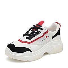 BASTO/百思图2018秋季专柜同款白色纺织物/剖层牛皮革系带老爹鞋女休闲鞋YSR10CM8