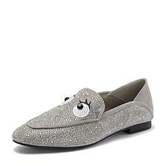 BASTO/百思图2018秋季专柜同款灰色布面水钻卡通浅口女单鞋YUM02CQ8