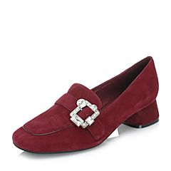 BASTO/百思图2018秋季专柜同款红色绒面羊皮革水钻方头粗跟女单鞋YUG01CQ8