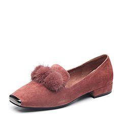 BASTO/百思图2018秋季专柜同款浅紫色羊皮革毛球浅口方跟女单鞋A9833CQ8