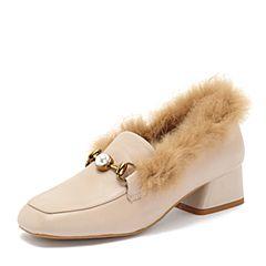 BASTO/百思图2018秋季专柜同款米色牛皮革珍珠方头纯色女单鞋RPX21CQ8