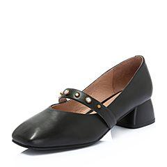 BASTO/百思图2018秋季专柜同款黑色牛皮革小V口珍珠方跟女单鞋RBG39CQ8