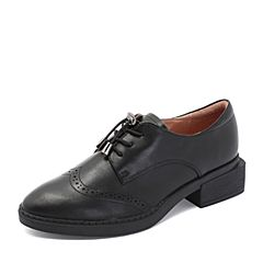BASTO/百思图2018秋季专柜同款黑色牛皮革镂花方跟休闲女皮鞋RPP25CM8