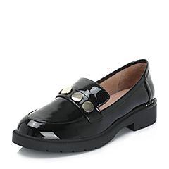 BASTO/百思图2018秋季专柜同款黑色漆牛皮革浅口休闲乐福鞋女单鞋RQZ22CQ8