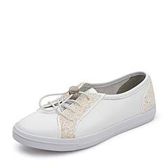 BASTO/百思图2018秋季专柜同款白色软面牛皮革/纺织物小白鞋女休闲鞋YIP63CM8