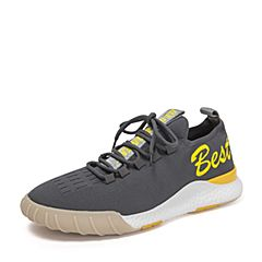 BASTO/百思圖2018秋季專柜同款灰色紡織物字母系帶男休閑鞋BZL01CM8