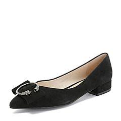 BASTO/百思图2018秋季专柜同款黑色羊皮革蝴蝶结尖头浅口女单鞋A5850CQ8
