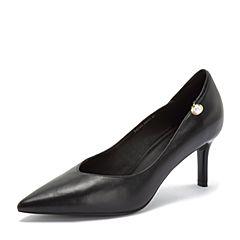 BASTO/百思图2018秋季专柜同款黑色羊皮革珍珠简约通勤细跟女单鞋PC103CQ8