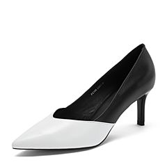 BASTO/百思图2018秋季专柜同款白/黑羊皮革拼色通勤细高跟女单鞋PC108CQ8