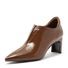 BASTO/百思图2018秋季专柜同款棕色牛皮革尖头粗跟女皮鞋PD302CM8