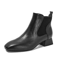 BASTO/百思图2018冬季专柜同款黑色牛皮革简约休闲切尔西靴女皮靴RLU42DD8