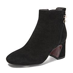 BASTO/百思图2018冬季专柜同款黑色羊绒皮革珍珠粗跟女皮靴短靴RRI45DD8