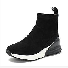 BASTO/百思图2018冬季专柜同款黑色植绒布休闲坡跟套筒女短靴YWA07DD8