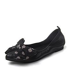BASTO/百思图2018秋季专柜同款黑色羊皮革波点蝴蝶结浅口女单鞋CC836CQ8