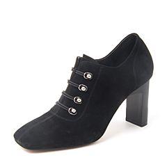 BASTO/百思图2018冬季黑色羊皮革粗高跟方头套脚女皮靴及裸靴A1186DD8