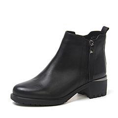 BASTO/百思图2018冬季黑色牛皮革侧拉链方跟绒里女皮靴短靴A3398DD8