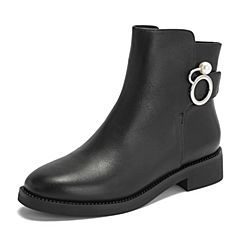 BASTO/百思图2018冬季黑色牛皮革珍珠简约纯色方跟女皮靴短靴TD528DD8