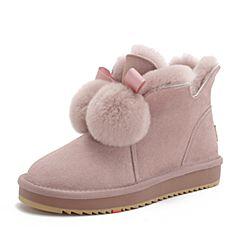 BASTO/百思图2018冬季专柜同款粉色剖层牛皮革毛球雪地靴女休闲靴Y1988DD8