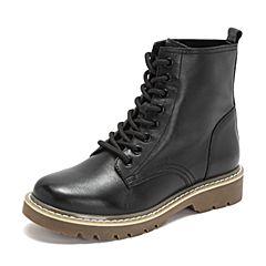 BASTO/百思图2018冬季专柜同款黑色牛皮革系带休闲马丁靴女皮靴YYK02DD8