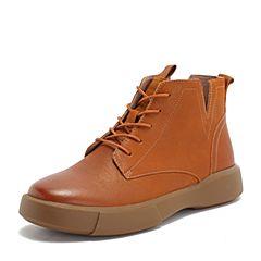 BASTO/百思图2018冬季专柜同款土黄色牛皮革系带休闲马丁靴女短靴YMG06DD8