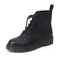 BASTO/百思图2018冬季黑色牛皮革简约系带个性酷马丁靴女皮靴DD965DD8