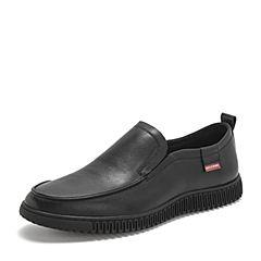 BASTO/百思图2019春季专柜同款黑色牛皮革套?#29260;?#36319;男休闲鞋H9871AM9