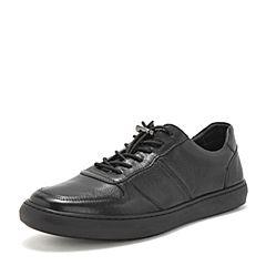 BASTO/百思图2019春季专柜同款黑色牛皮革松紧带平跟男休闲鞋CDG07AM9