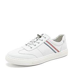 BASTO/百思图2019春季专柜同款白色软面牛皮革松紧带小白鞋男休闲鞋BIK36AM9