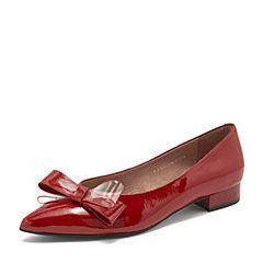 BASTO/百思图2019春季专柜同款红色牛皮革蝴蝶结尖头浅口甜美女单鞋RTV22AQ9