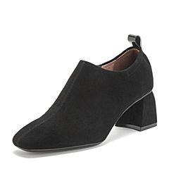 BASTO/百思图2019春季专柜同款黑色羊皮革方头粗跟纯色女休闲鞋RUH24AM9
