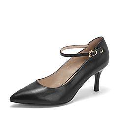 BASTO/百思图2019春季专柜同款黑色牛皮革通勤优雅细高跟女皮鞋RUG21AQ9